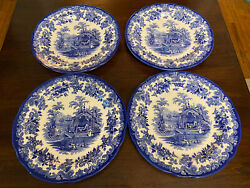 4 The Spode Blue Room Collection Tiger Cages Blue White 4 Dinner Plate Set 10.5