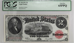1917 2 Legal Tender Fr60 Pcgs Currency Gem New 65ppq Rare Banknote