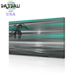 DJDL Ocean Moon Beach Palm Wall Art Canvas Print Painting Poster Picture 1PC