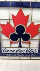 Vintage Canadian Club Stained Glass Bar Hanging - No Cracks Or Chips - Mint