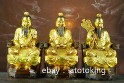 12 Chinese Antiques Pure Copper Gilded Sitting Posture Sanqing Statue