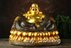 18 Chinese Antiques Pure Copper Gilded Lotus Seat Maitreya Buddha Statue
