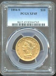 1854 S 10 Liberty Gold Eagle Xf 45 Pcgs Better Date Nice Color
