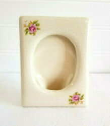 Porcelain Photo Picture Frame Ivory With Crazing Pink Roses 4x5 Unbranded
