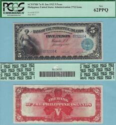 1912 Bank Of The Philippine Islands 5 Pesos Pcgs 62ppq Pick7a Hord 2255