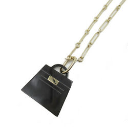 Hermes Kelly Pendant Gm Necklace Gold Plated Black Clear System Gold Used