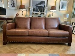 Brown Leather Super Trendy 3 Seater Sofa Settee