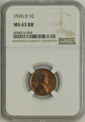 1926-d Lincoln Cent 1c Ms63 Rb Ngc 943401-17