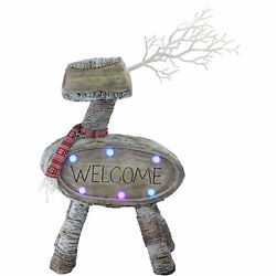 Northlight 23.5 Led Lighted Faux Wood Welcome Reindeer Christmas Decoration