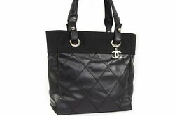 Puri Fritz Pm Small Tote Bag Black Silver Fittings Metal Coated No.685