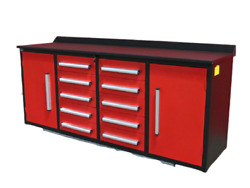 Tool Chest Work Bench 7' Storage Cabinets With Workbench 10 Drawers And 2 Cabinets