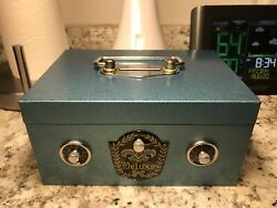 Vintage Made In Japan Deluxe Combination Coin Box Bank Metal With Lid Bell Alarm