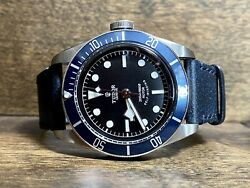 Tudor Black Bay 79220b 41mm Stainless Steel Case Aged Leather 200m Men's Watch