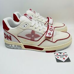 Louis Vuitton Mens Red White Mesh Trainer Sneaker 9.5 Lv Size Us 10.5 Sold Out