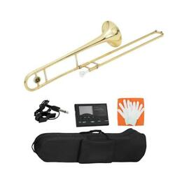 New Brass Key Of Eb Alto Trombone With Tuner Hard Case 12c Mouthpiece Golden