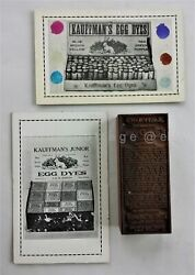 Lot Antique Kauffman's Egg Dyes Printing Block Andad Cards Gap Pa Easter 2
