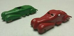 2x Wyandotte Pressed Steel Toys Cars Red And Green Coupe And Convertible 1930and039s