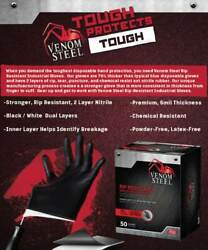 Venom Steel Nitrile Gloves Rip Resistant One Size Fit All = 1 Case / 24 Boxes