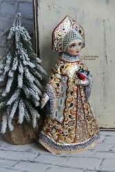 Author's Collectible Carved Figure Snow Maiden Handmade, 26 Cm