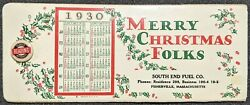Vintage 1930 Merry Christmas Folks South End Fuel Co. Mass Celluloid Ink Blotter