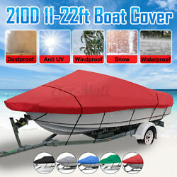 Waterproof Boat Cover Trailerable Heavy Duty V-hull Fish Ski Runabouts 11-22ft