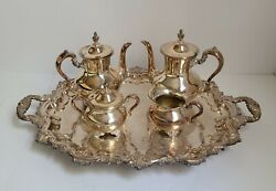 E.p.c.a. Old English Silver Plate By Poole, Tea/coffee Serving Set, 5 Pcs