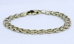 Menand039s 8.5 14k Solid Yellow Gold Unique Ladder Link Chain Bracelet Made In Italy