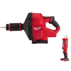 Cordless Drain Cleaning Snake Auger 18v W/ 5/16 In. Cable Drive W/ Stick Light