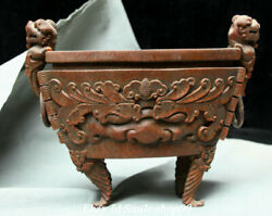 9 Old Chinese Bamboo Wood Dynasty Beast Face Lion Ear Incense Burner Censer