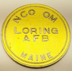 Vtg Nco Om Loring Air Force Base Maine Us 1 Trade Token Coin Officers Club