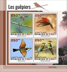 Djibouti 2021 Bee eaters Red bearded Rainbow 4 Stamp Sheet DJB210206a