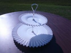 Rare Vintage Hobnail Milk Glass Two Tier Cake Stand