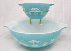 Vintage Pyrex Hot Air Balloon Chip And Dip Set With Bracket 441 And 444 Gorgeous