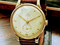 With Case Gold Solid Smith Deluxe Smosseco Watch Hand-wound 1950s Uk Men Antique