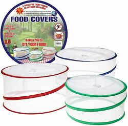 Set Of 3 Pop Up Food Covers Mesh Screen Outdoor Picnic Bbq Tent Bug Protector