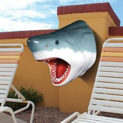 Design Made By Toscano Great White Shark Wall Mount Trophy Sculpture Decoration