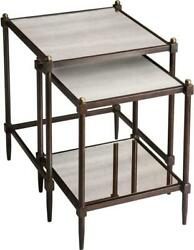 Nesting Tables Nested Transitional Pewter Metalworks Antiqued Gold Di