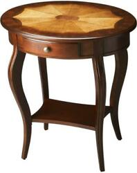 Side Table Plantation Cherry Distressed Brass-plated Maple Rubberwood Wal