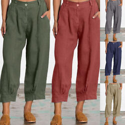 Fashion Womens Solid Woven Pocket Bootcut Ladies Loose Fit Wide Leg Casual Pants