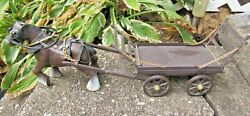 Vintage Japan Plastic Draft Horse With Wagon Toy Figurine