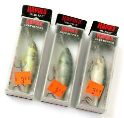 Lot Of 3 Colors Old Stock Rapala Shad Rap Sr-7 Deep Runner Fishing Lures Read