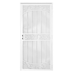 Security Door 36 In. X 80 In White Surface Mount With Perforated Metal Screen