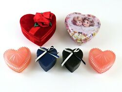 Mixed Lot Of 6 Heart Shaped Trinket, Jewelry, Gift, Treat, Craft Boxes