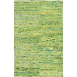 2and039 X 3and039 Bazaar Mix Lime Hunter Green. Golden Yellow Hand Knotted Area Throw Rug