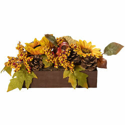 Northlight 10 Yellow Brown Sunflowers Leaves Fall Harvest Floral Arrangement
