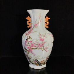 Chinese Vintage Porcelain Famille Handmade Exquisite Magpie Vase  12820