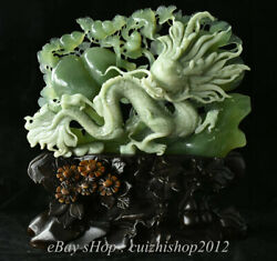 15 Natural Green Xiu Jade Jadeite Carved Feng Shui Animal Dragon Gourds Statue