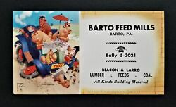 Barto Feed Mills Barto Pa Ad Ink Blotter Paper Anthropomorpic Monkey Taxi