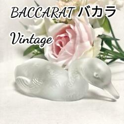 Vintage Baccarat Duck Paper Weights Figurine Frosted Glass