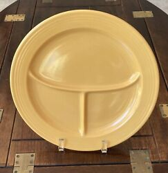 Vintage Fiesta Divided Compartment Grill Plate In Yellow 10 1/2 Fiestaware